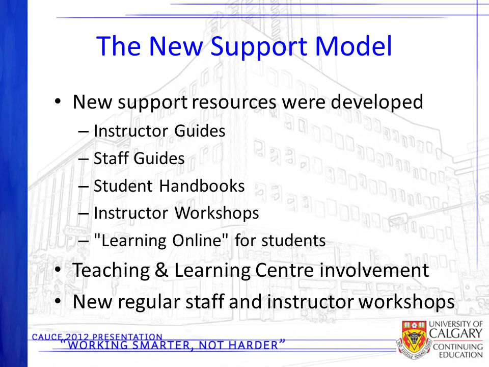 The New Support Model New support resources were developed – Instructor Guides – Staff Guides – Student Handbooks – Instructor Workshops –