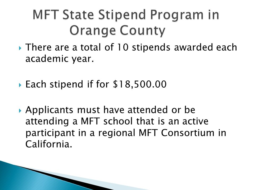  There are a total of 10 stipends awarded each academic year.