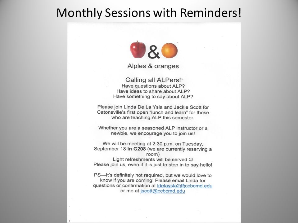 Monthly Sessions with Reminders!