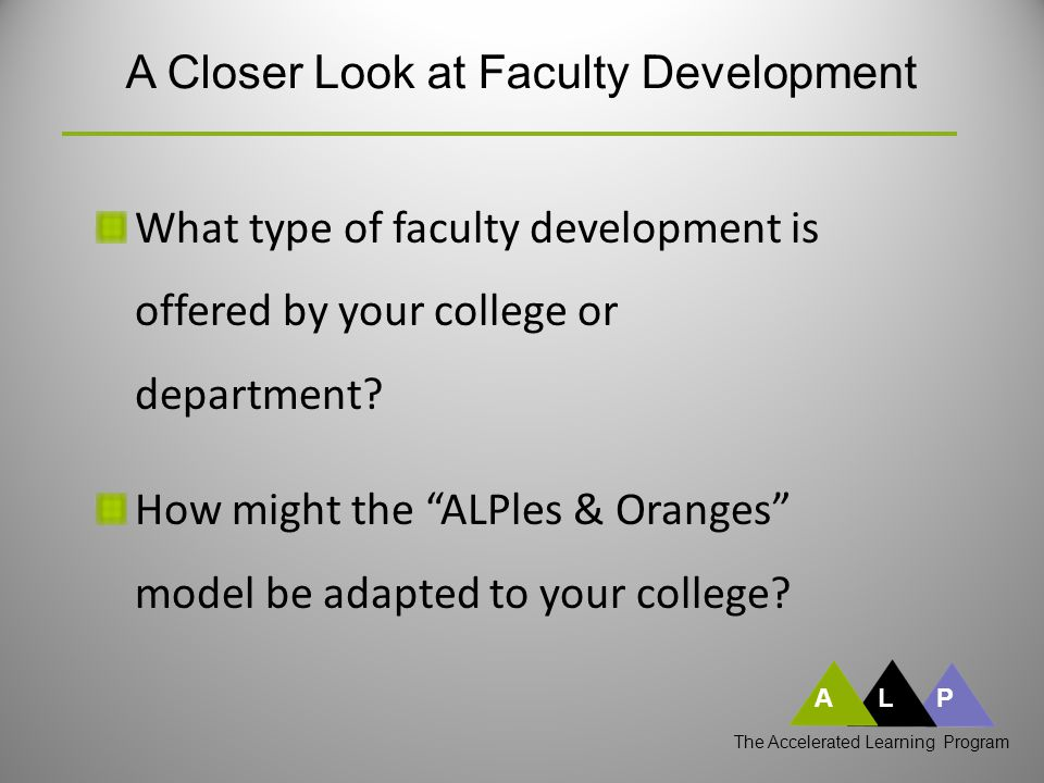 ALP A Closer Look at Faculty Development What type of faculty development is offered by your college or department.