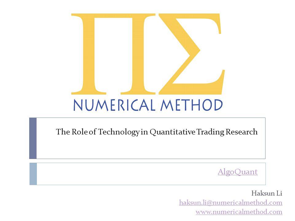 Speaker Profile  Haksun Li  CEO, Numerical Method Inc.Numerical Method Inc.