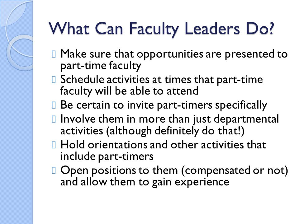 What Can Faculty Leaders Do.