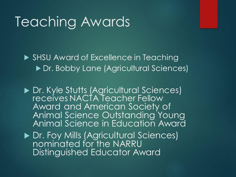 Teaching Awards  SHSU Award of Excellence in Teaching  Dr.
