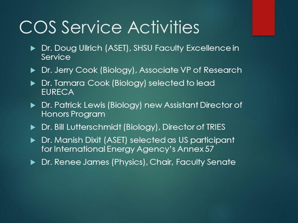 COS Service Activities  Dr. Doug Ullrich (ASET), SHSU Faculty Excellence in Service  Dr.