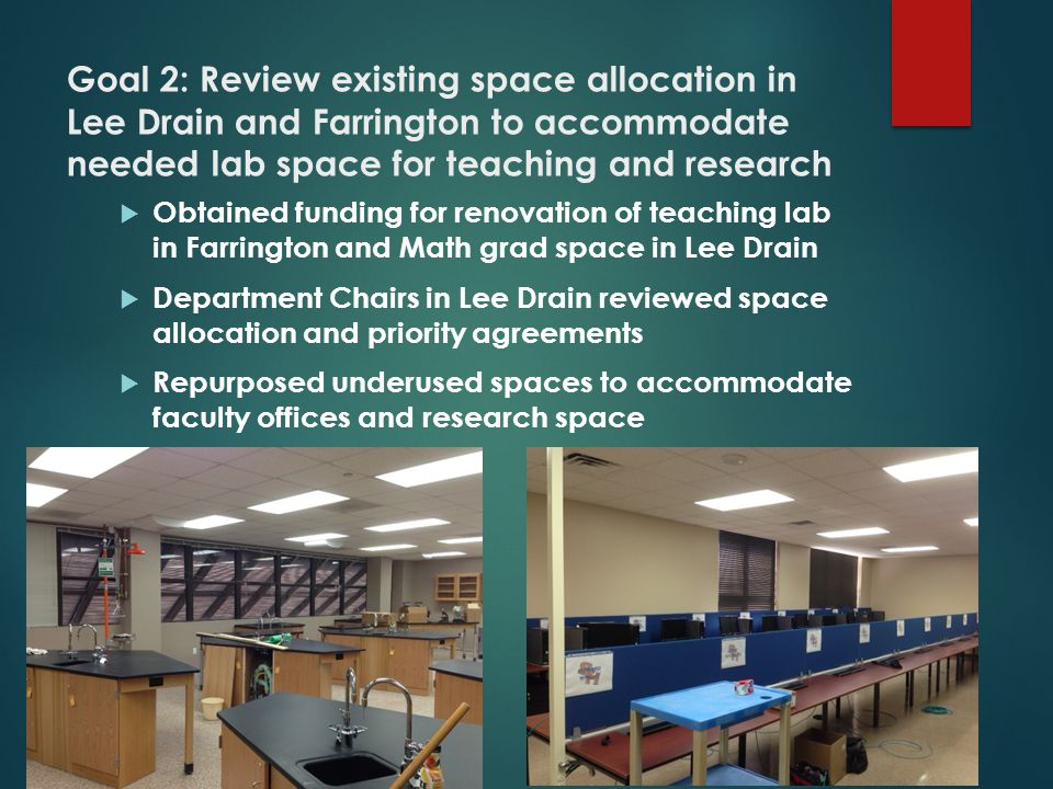 Goal 2: Review existing space allocation in Lee Drain and Farrington to accommodate needed lab space for teaching and research  Obtained funding for