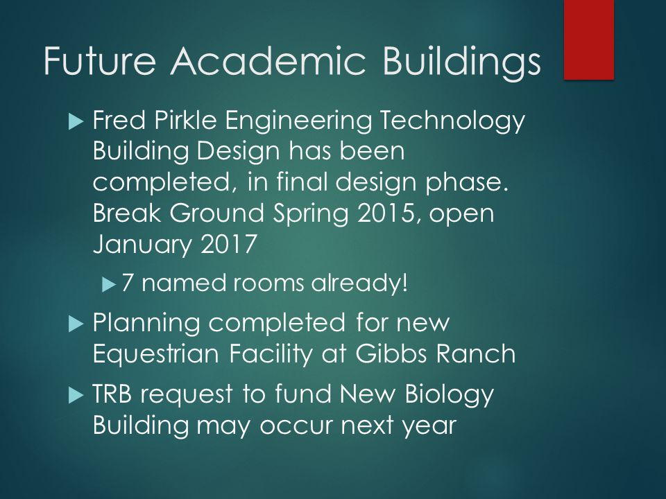 Future Academic Buildings  Fred Pirkle Engineering Technology Building Design has been completed, in final design phase.