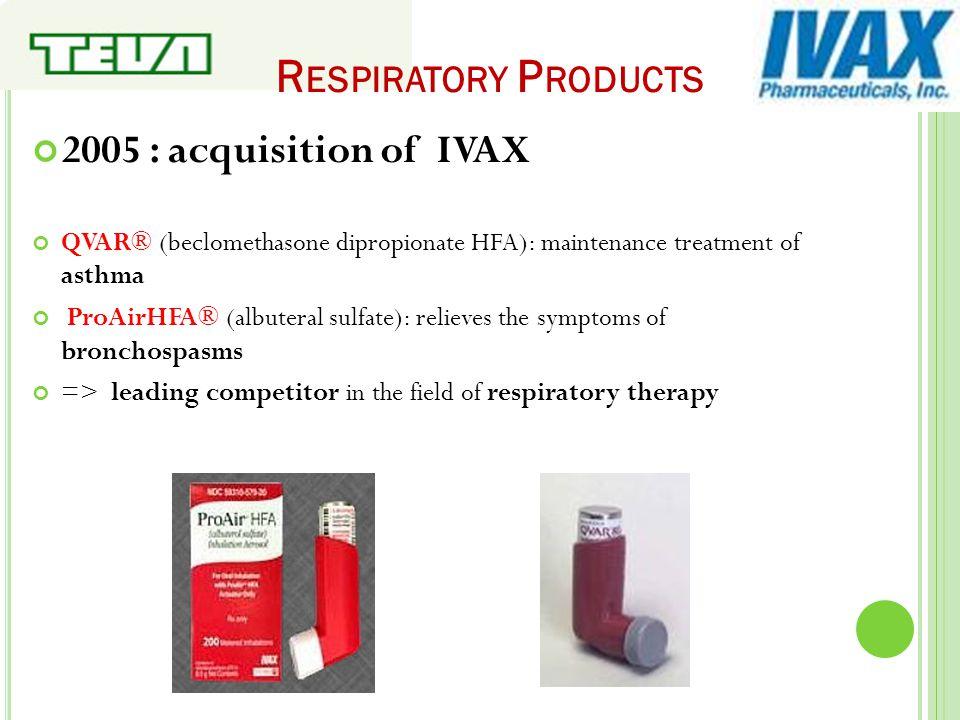 R ESPIRATORY P RODUCTS 2005 : acquisition of IVAX QVAR® (beclomethasone dipropionate HFA): maintenance treatment of asthma ProAirHFA® (albuteral sulfa
