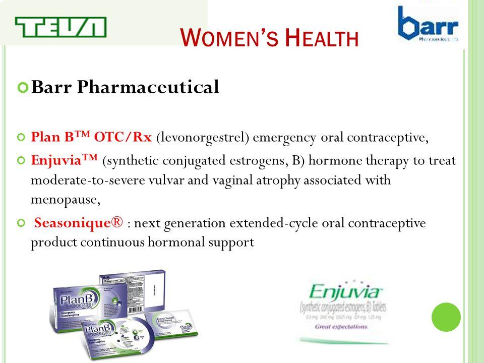 W OMEN ' S H EALTH Barr Pharmaceutical Plan B™ OTC/Rx (levonorgestrel) emergency oral contraceptive, Enjuvia™ (synthetic conjugated estrogens, B) horm