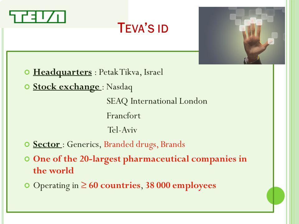 T EVA ' S ID Headquarters : Petak Tikva, Israel Stock exchange : Nasdaq SEAQ International London Francfort Tel-Aviv Sector : Generics, Branded drugs,
