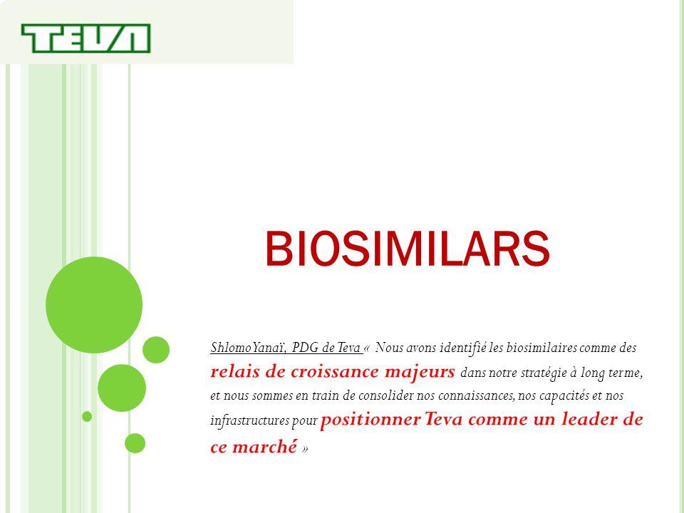 BIOSIMILARS Shlomo Yanaï, PDG de Teva « Nous avons identifié les biosimilaires comme des relais de croissance majeurs dans notre stratégie à long term