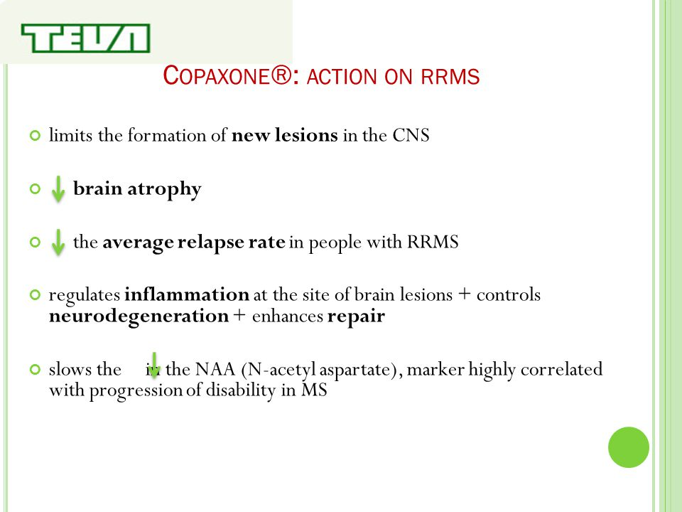 C OPAXONE ®: ACTION ON RRMS limits the formation of new lesions in the CNS brain atrophy the average relapse rate in people with RRMS regulates inflam