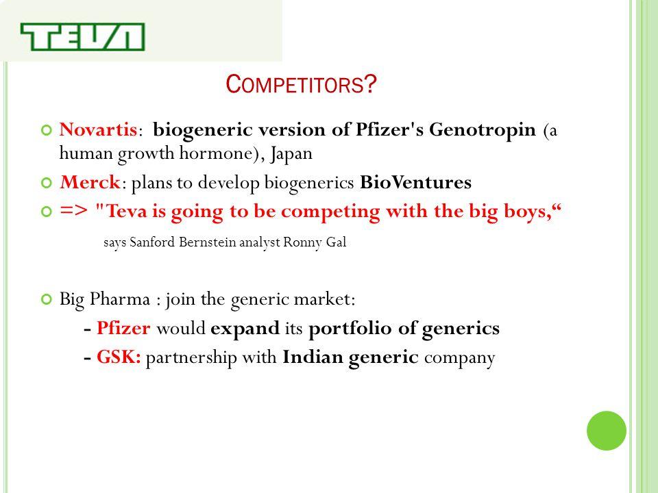C OMPETITORS ? Novartis: biogeneric version of Pfizer's Genotropin (a human growth hormone), Japan Merck: plans to develop biogenerics BioVentures =>