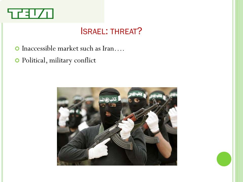 I SRAEL : THREAT ? Inaccessible market such as Iran…. Political, military conflict