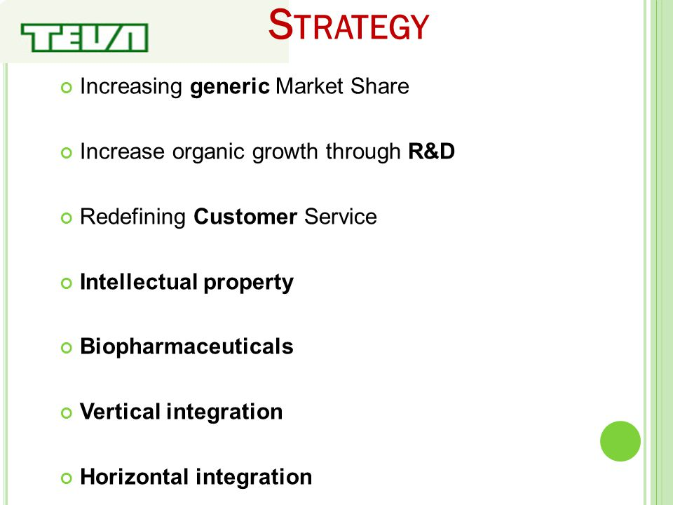 S TRATEGY Increasing generic Market Share Increase organic growth through R&D Redefining Customer Service Intellectual property Biopharmaceuticals Ver