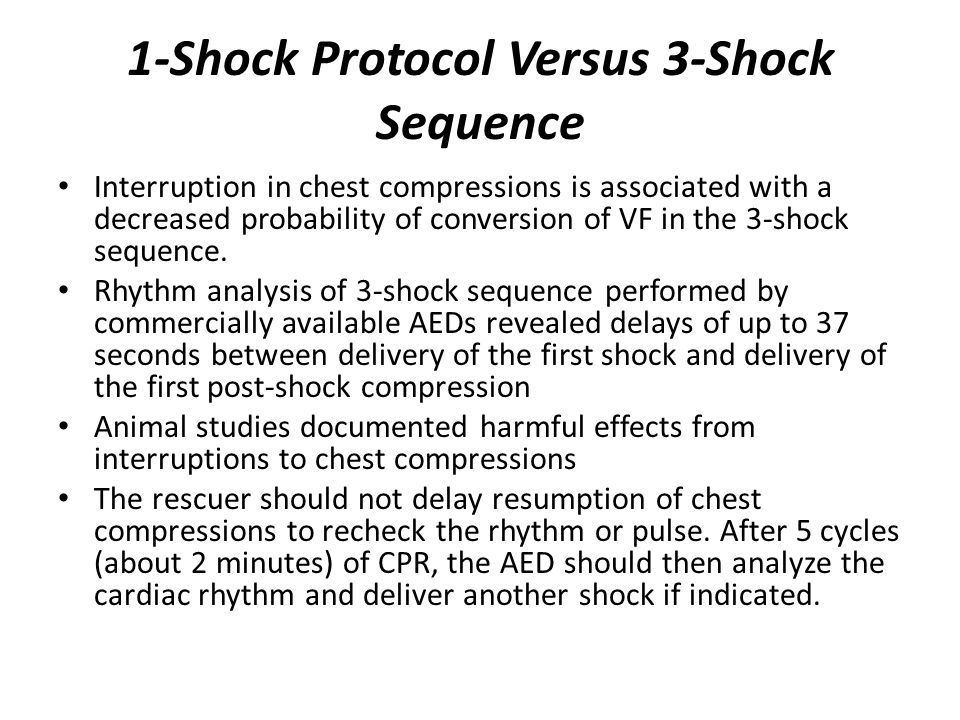 1-Shock Protocol Versus 3-Shock Sequence Interruption in chest compressions is associated with a decreased probability of conversion of VF in the 3-sh