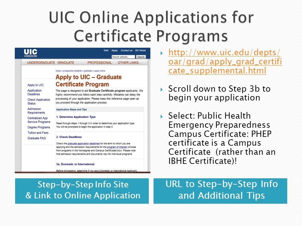 Step-by-Step Info Site & Link to Online Application URL to Step-by-Step Info and Additional Tips  http://www.uic.edu/depts/ oar/grad/apply_grad_certifi cate_supplemental.html http://www.uic.edu/depts/ oar/grad/apply_grad_certifi cate_supplemental.html  Scroll down to Step 3b to begin your application  Select: Public Health Emergency Preparedness Campus Certificate: PHEP certificate is a Campus Certificate (rather than an IBHE Certificate)!