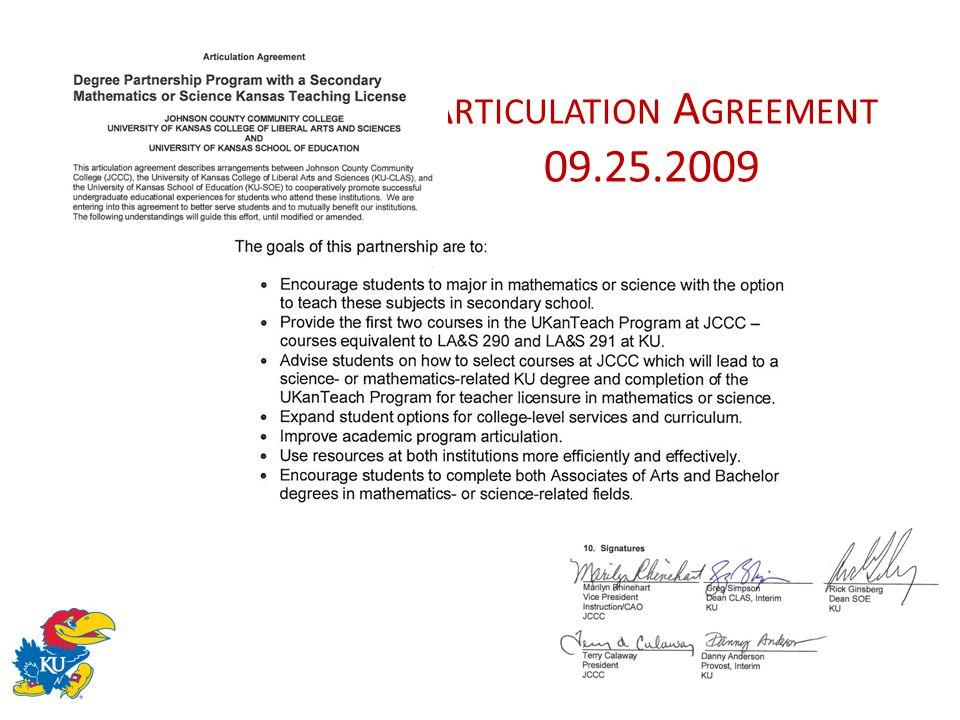 A RTICULATION A GREEMENT 09.25.2009
