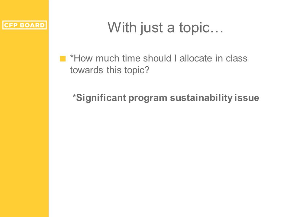 With just a topic… ■ *How much time should I allocate in class towards this topic.