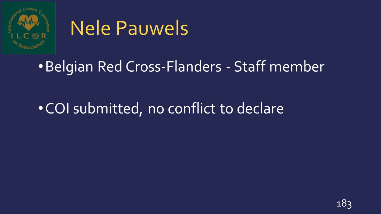 Nele Pauwels Belgian Red Cross-Flanders - Staff member COI submitted, no conflict to declare 183