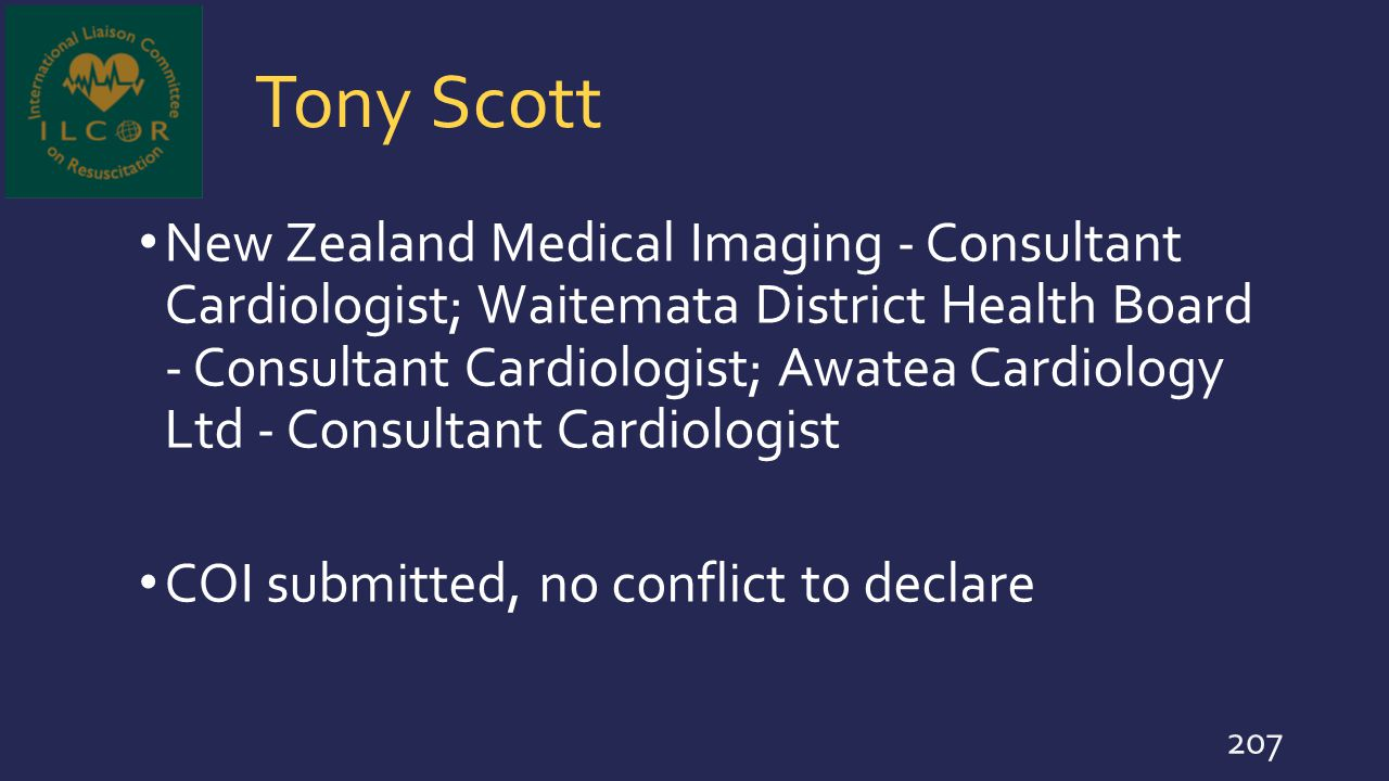 Tony Scott New Zealand Medical Imaging - Consultant Cardiologist; Waitemata District Health Board - Consultant Cardiologist; Awatea Cardiology Ltd - C
