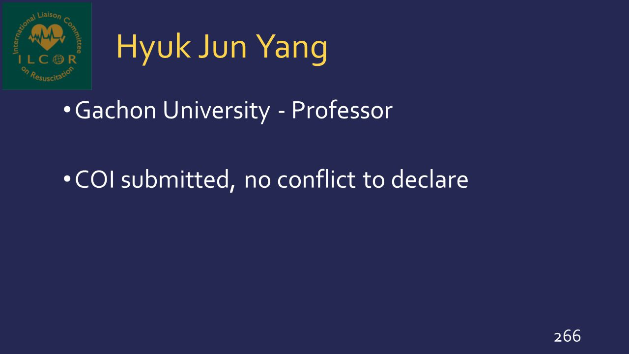 Hyuk Jun Yang Gachon University - Professor COI submitted, no conflict to declare 266