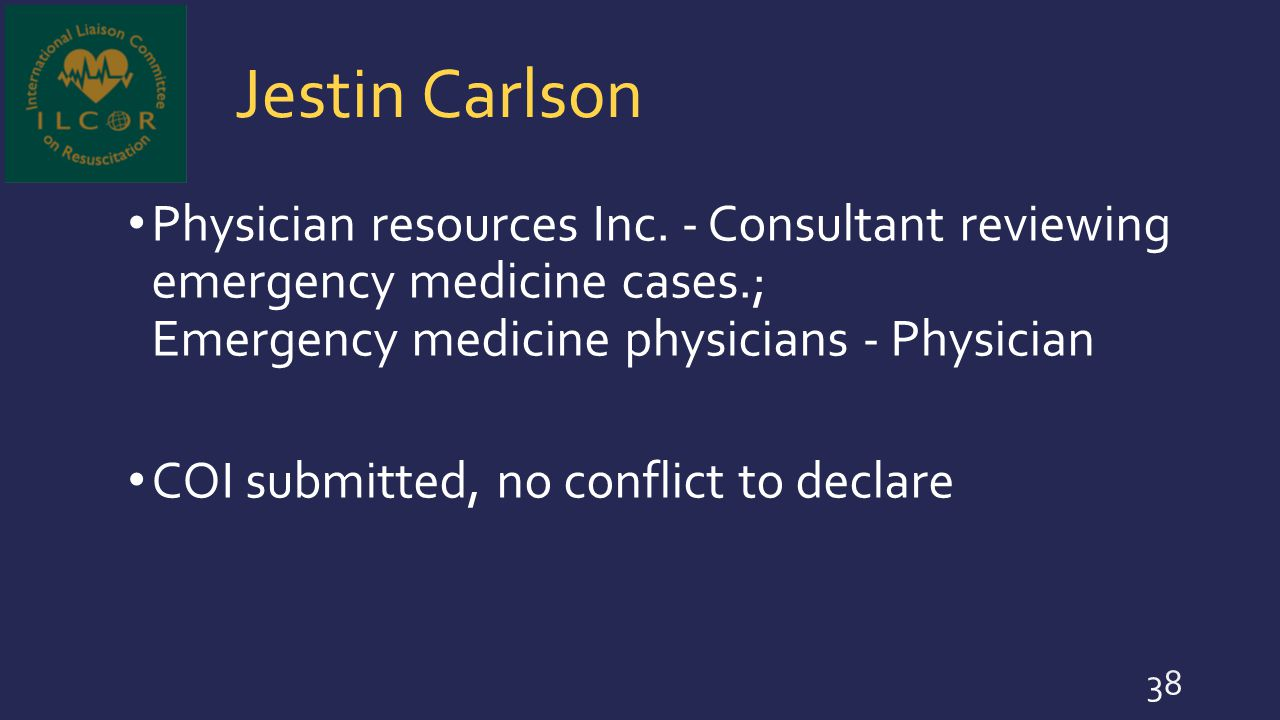 Jestin Carlson Physician resources Inc. - Consultant reviewing emergency medicine cases.; Emergency medicine physicians - Physician COI submitted, no