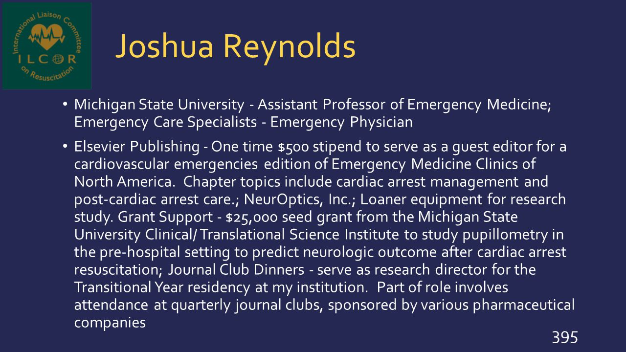 Joshua Reynolds Michigan State University - Assistant Professor of Emergency Medicine; Emergency Care Specialists - Emergency Physician Elsevier Publi