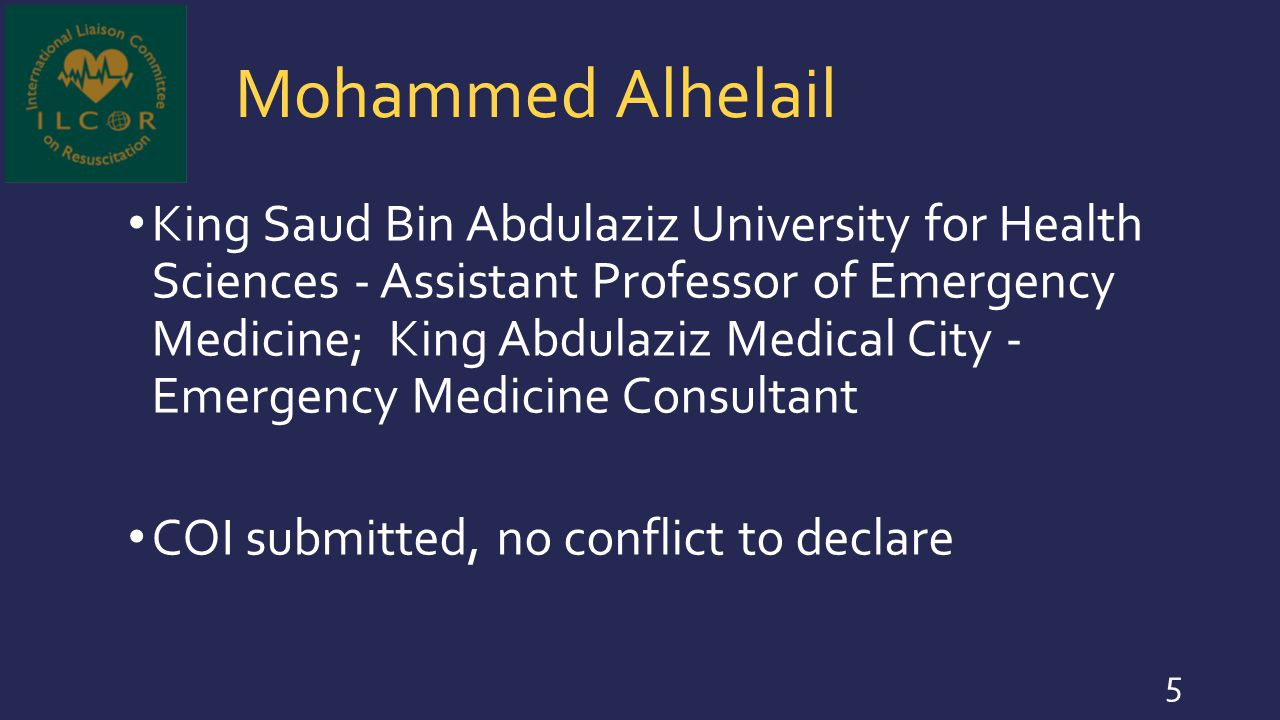 Mohammed Alhelail King Saud Bin Abdulaziz University for Health Sciences - Assistant Professor of Emergency Medicine; King Abdulaziz Medical City - Em