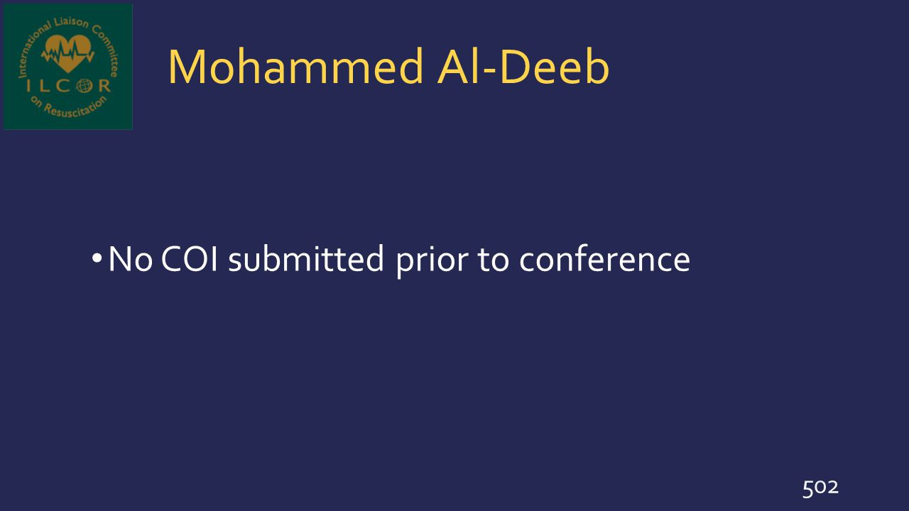 Mohammed Al-Deeb No COI submitted prior to conference 502