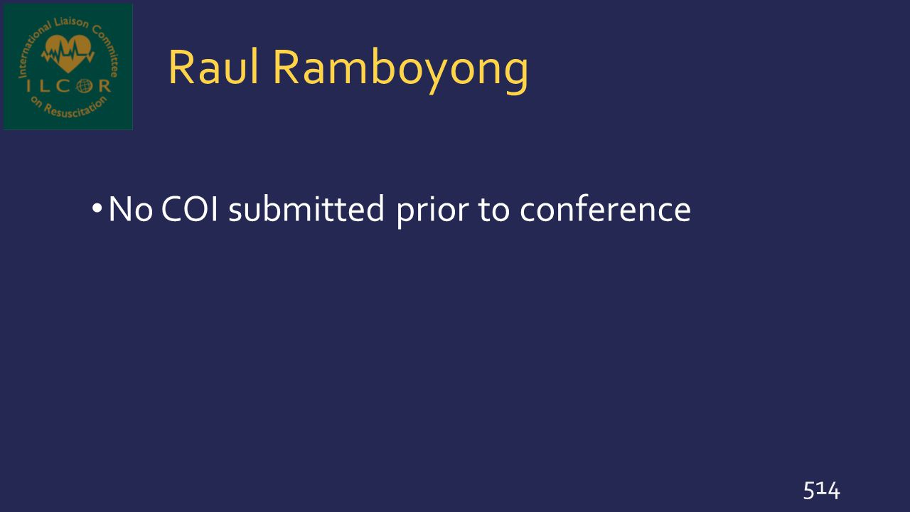 Raul Ramboyong No COI submitted prior to conference 514