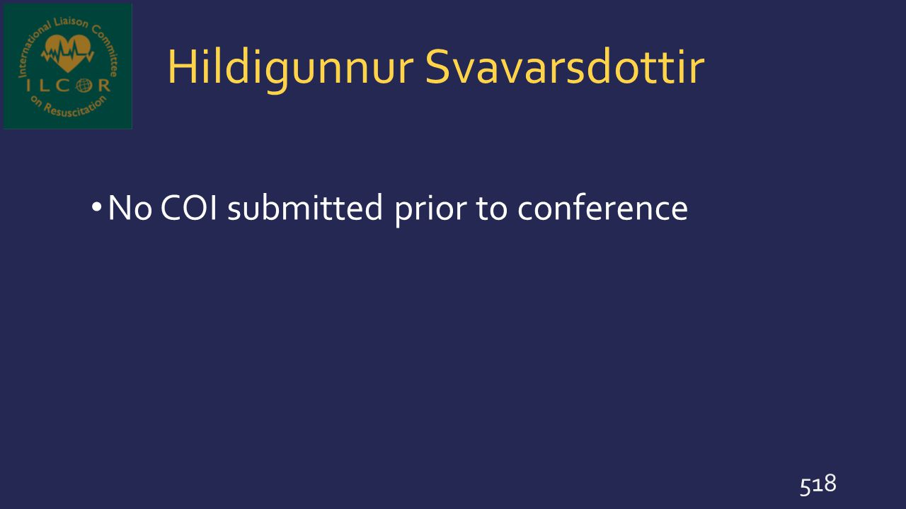 Hildigunnur Svavarsdottir No COI submitted prior to conference 518
