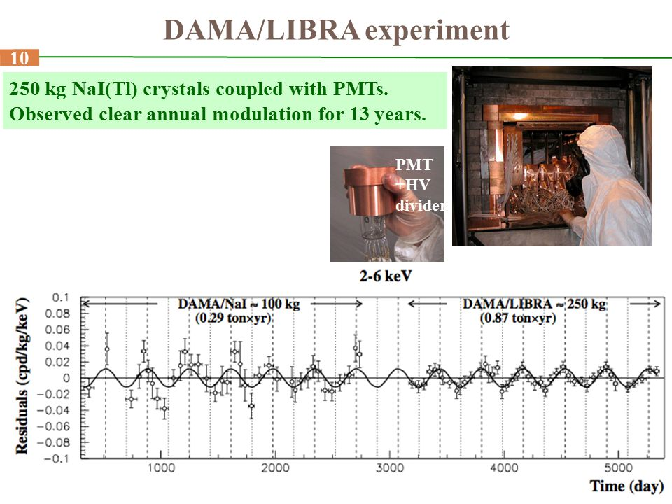10 250 kg NaI(Tl) crystals coupled with PMTs. Observed clear annual modulation for 13 years. PMT +HV divider DAMA/LIBRA experiment