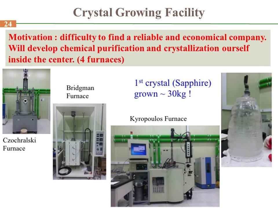 24 Crystal Growing Facility Motivation : difficulty to find a reliable and economical company. Will develop chemical purification and crystallization