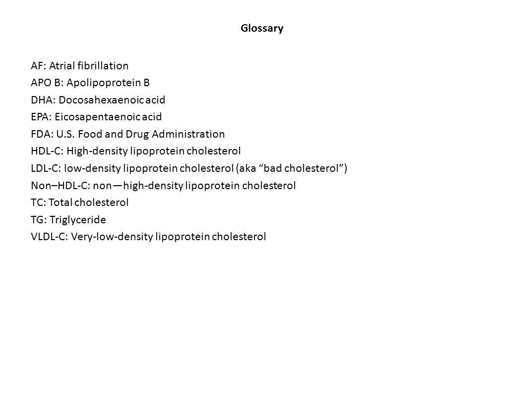 Glossary AF: Atrial fibrillation APO B: Apolipoprotein B DHA: Docosahexaenoic acid EPA: Eicosapentaenoic acid FDA: U.S.