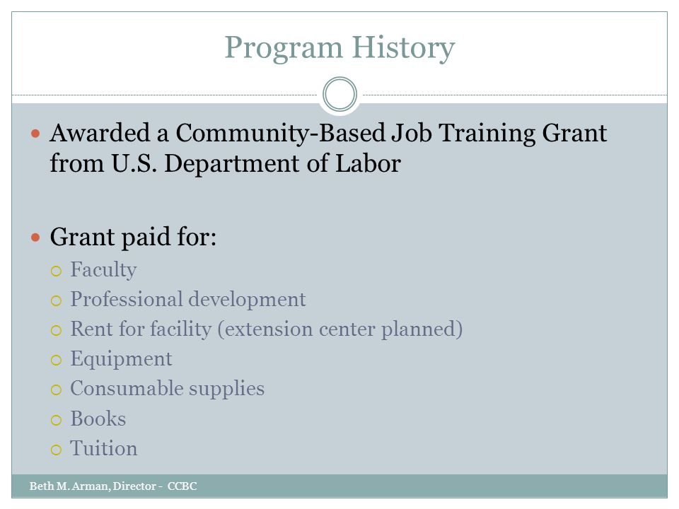 Program History Awarded a Community-Based Job Training Grant from U.S. Department of Labor Grant paid for:  Faculty  Professional development  Rent