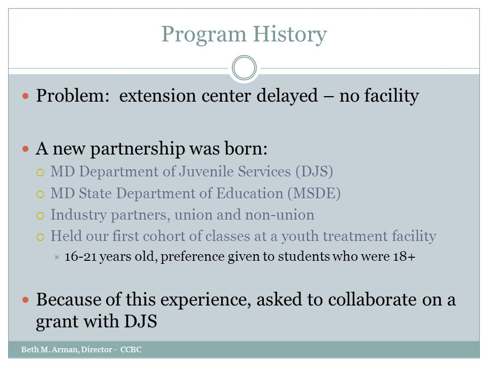 Program History Problem: extension center delayed – no facility A new partnership was born:  MD Department of Juvenile Services (DJS)  MD State Depa