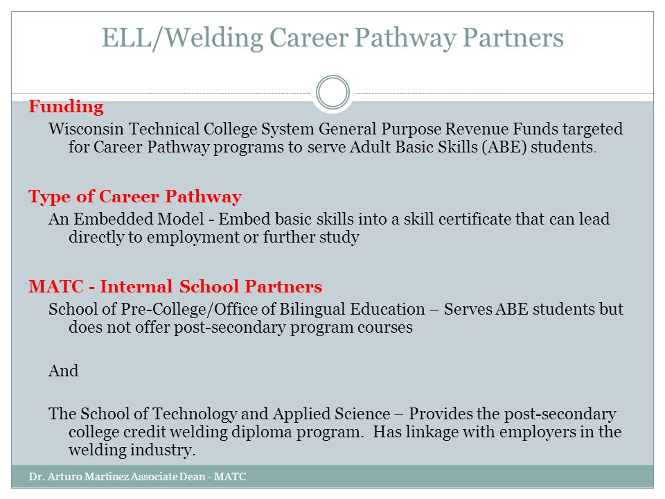 ELL/Welding Career Pathway Partners Dr. Arturo Martinez Associate Dean - MATC Funding Wisconsin Technical College System General Purpose Revenue Funds