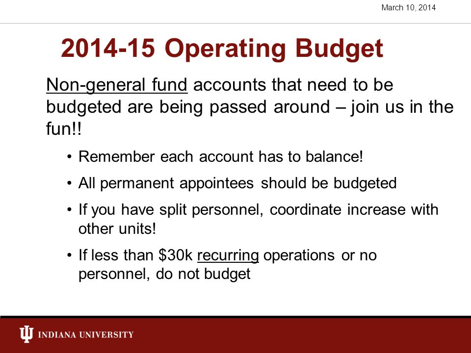 2014-15 Operating Budget Non-general fund accounts that need to be budgeted are being passed around – join us in the fun!.