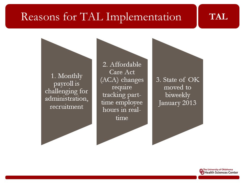 TAL Reasons for TAL Implementation 1.