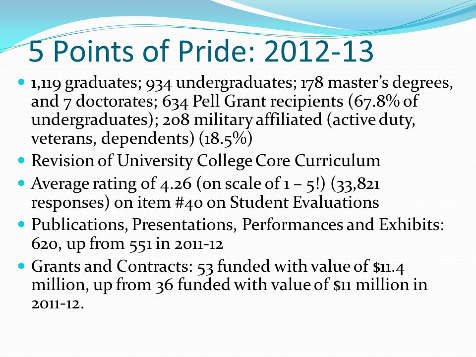 5 Points of Pride: 2012-13 1,119 graduates; 934 undergraduates; 178 master's degrees, and 7 doctorates; 634 Pell Grant recipients (67.8% of undergraduates); 208 military affiliated (active duty, veterans, dependents) (18.5%) Revision of University College Core Curriculum Average rating of 4.26 (on scale of 1 – 5!) (33,821 responses) on item #40 on Student Evaluations Publications, Presentations, Performances and Exhibits: 620, up from 551 in 2011-12 Grants and Contracts: 53 funded with value of $11.4 million, up from 36 funded with value of $11 million in 2011-12.
