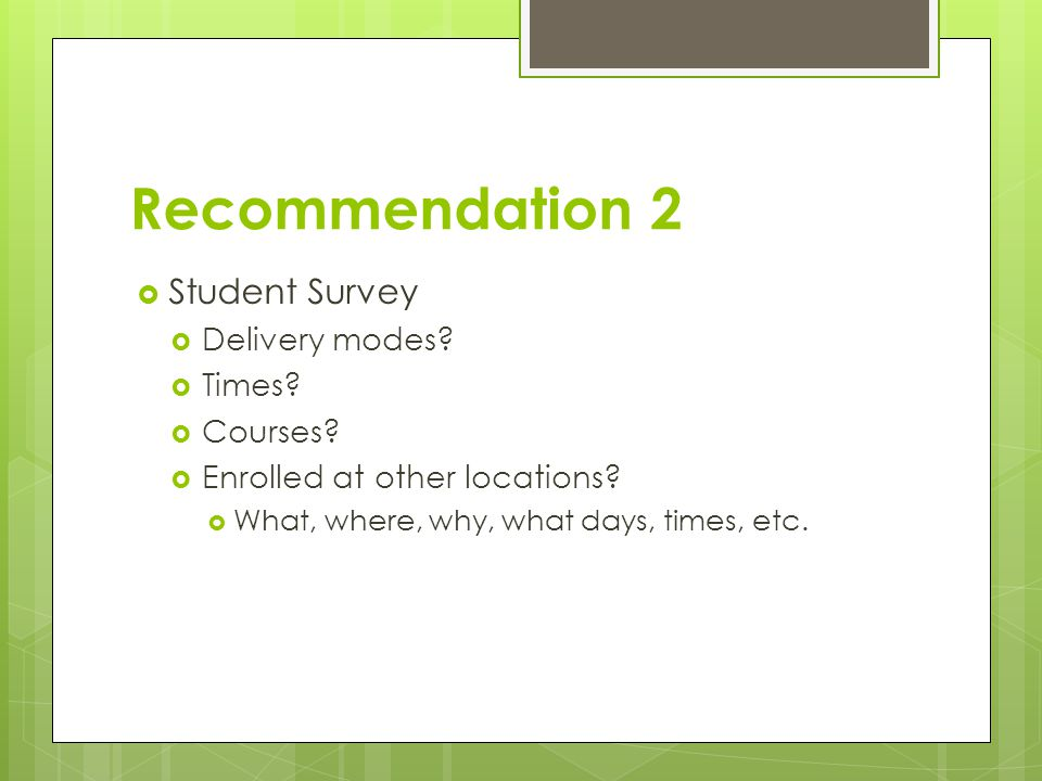 Recommendation 2  Student Survey  Delivery modes?  Times?  Courses?  Enrolled at other locations?  What, where, why, what days, times, etc.