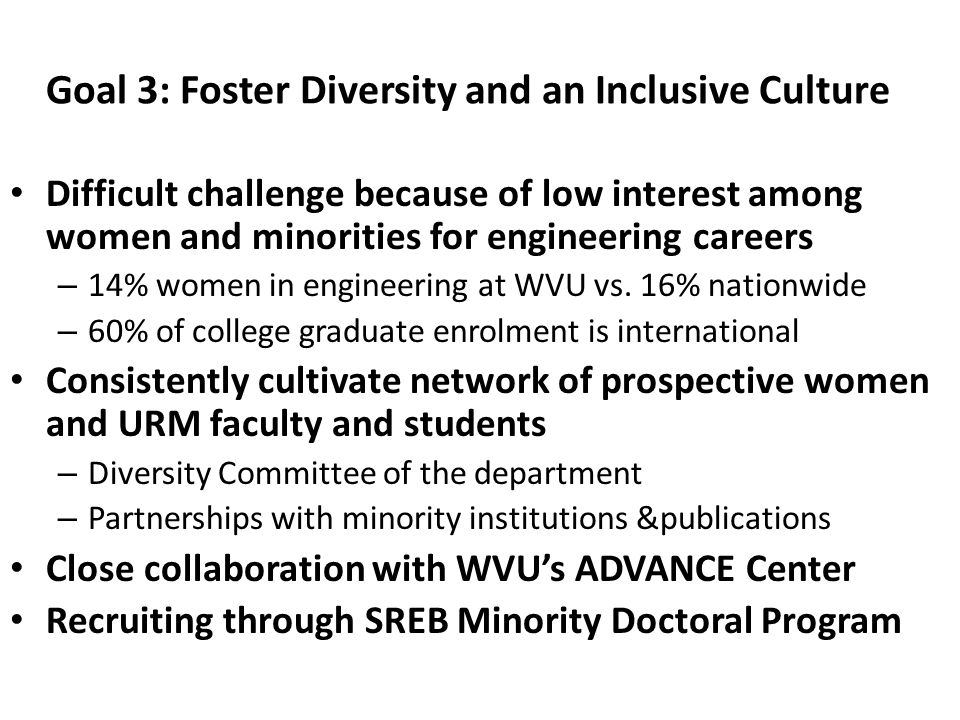 Goal 3: Foster Diversity and an Inclusive Culture Difficult challenge because of low interest among women and minorities for engineering careers – 14%
