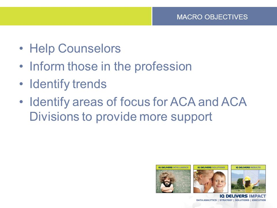 MACRO OBJECTIVES Help Counselors Inform those in the profession Identify trends Identify areas of focus for ACA and ACA Divisions to provide more support