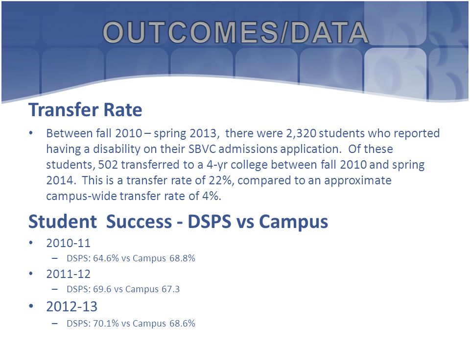 Transfer Rate Between fall 2010 – spring 2013, there were 2,320 students who reported having a disability on their SBVC admissions application.