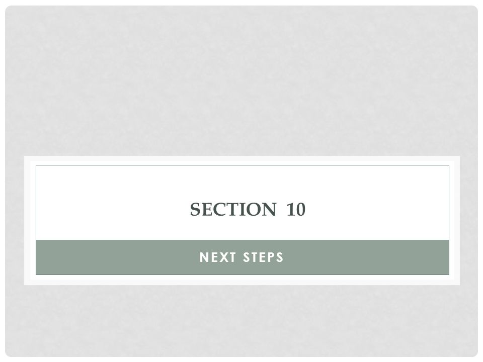 SECTION 10 NEXT STEPS