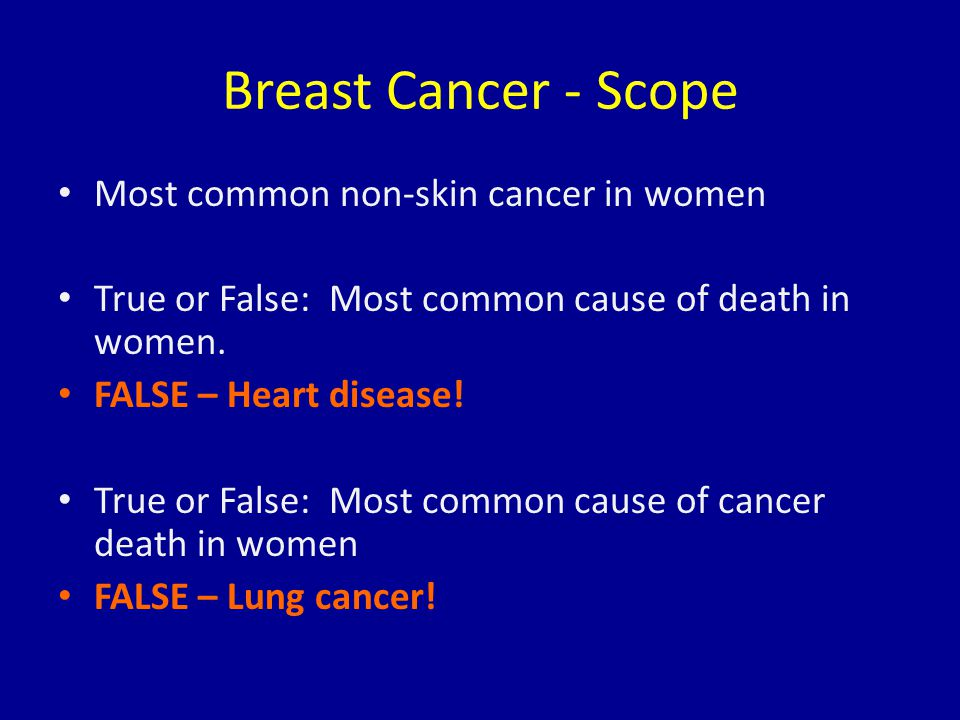 Breast Cancer - Scope Most common non-skin cancer in women True or False: Most common cause of death in women. FALSE – Heart disease! True or False: M