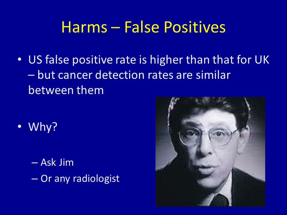 Harms – False Positives US false positive rate is higher than that for UK – but cancer detection rates are similar between them Why.