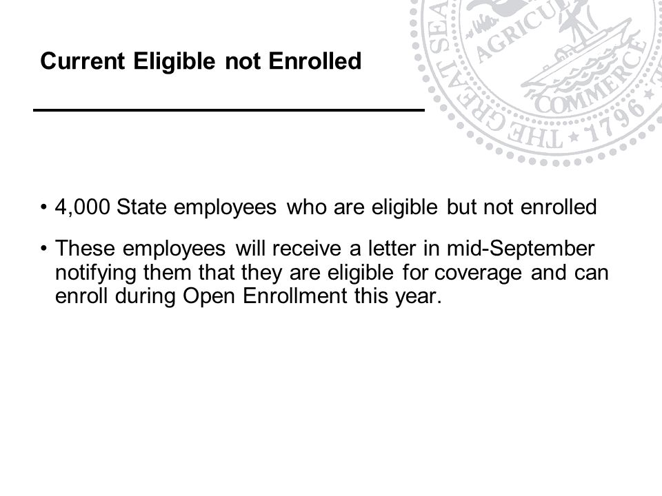 Current Eligible not Enrolled 4,000 State employees who are eligible but not enrolled These employees will receive a letter in mid-September notifying them that they are eligible for coverage and can enroll during Open Enrollment this year.