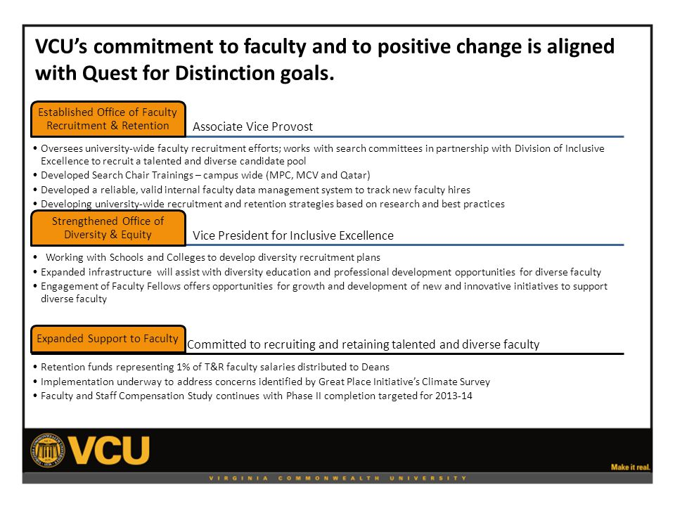 VCU's commitment to faculty and to positive change is aligned with Quest for Distinction goals.