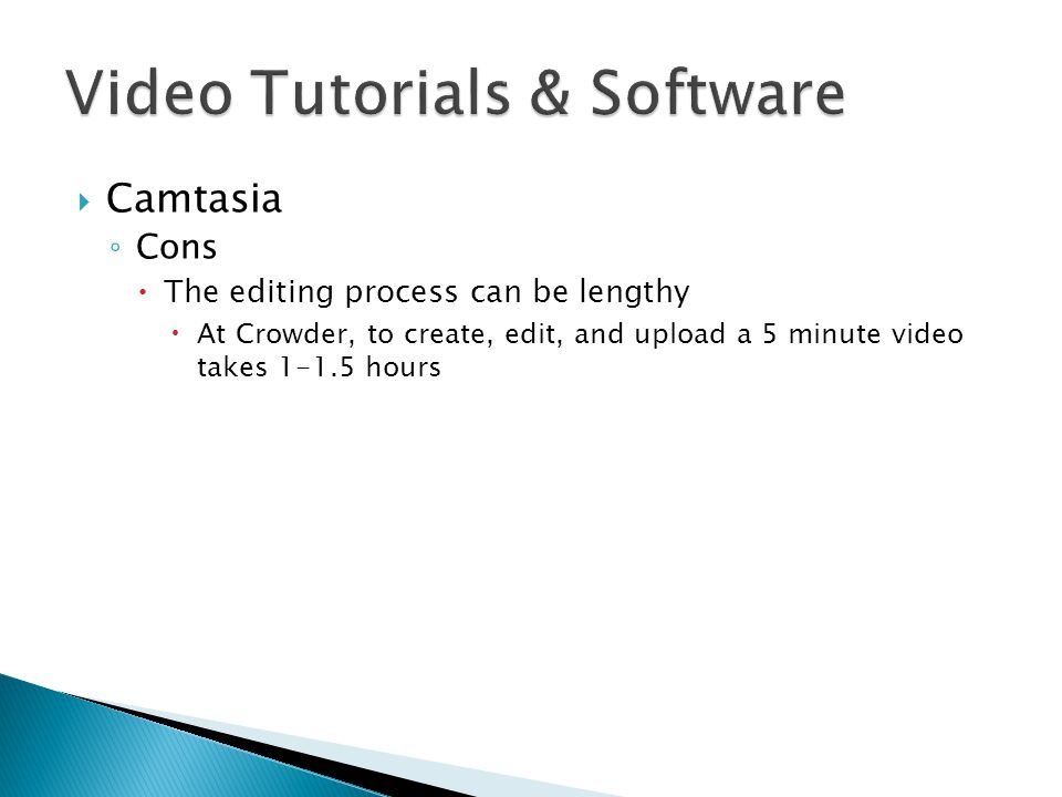  Camtasia ◦ Cons  The editing process can be lengthy  At Crowder, to create, edit, and upload a 5 minute video takes 1-1.5 hours